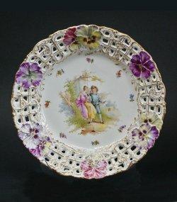 画像1: ドレスデン磁器 パンジー文透かし絵皿