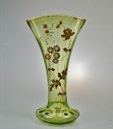 金彩草花文扇形花瓶