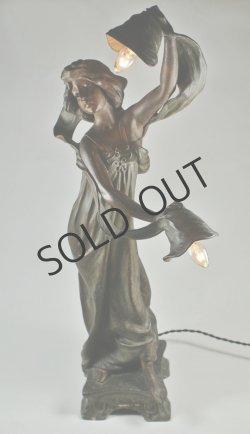 画像2: アールヌーヴォー 女性像のランプ