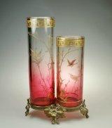 【BACCARAT】バカラ 花鳥文二連筒型花器