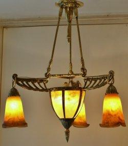 画像1: 【MULLER】ミュレー 杏子色の4灯式シャンデリア