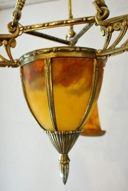 画像3: 【MULLER】ミュレー 杏子色の4灯式シャンデリア