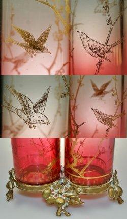 画像4: 【BACCARAT】バカラ 花鳥文二連筒型花器
