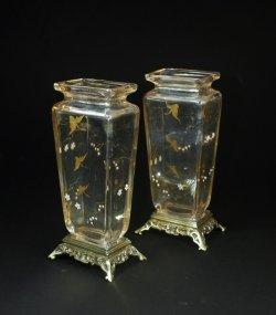 画像1: 【BACCARAT】バカラ 花鳥文角型花瓶一対