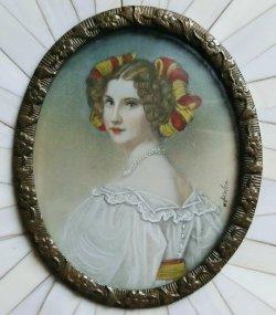 画像3: 額入りミニアチュール 婦人の肖像画