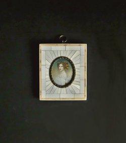 画像1: 額入りミニアチュール 婦人の肖像画