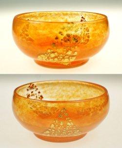 画像2: 【DAUM】ドーム 金箔入りオレンジ色の鉢