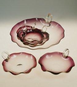 画像1: 蓮の葉型ガラスのデザートセット