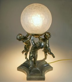 画像1: アイスクラック球形ガラスのランプ
