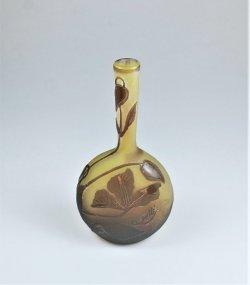 画像1: 【GALLE】ガレ クレマチス文鶴首花瓶