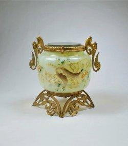 画像1: エナメル彩ヴァセリンガラスの蓋物