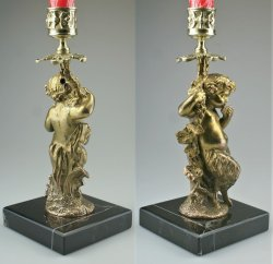 画像4:  キャンドルスタンド 笛を吹く小さな牧神