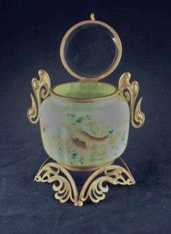 画像3: エナメル彩ヴァセリンガラスの蓋物