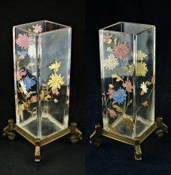 画像3: 【BACCARAT】バカラ 菊文エナメル彩角形花器