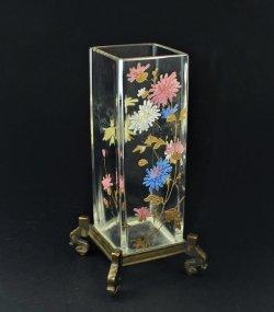 画像1: 【BACCARAT】バカラ 菊文エナメル彩角形花器