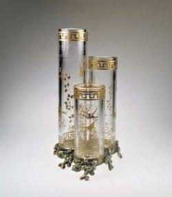 画像1: 【BACCARAT】バカラ 花鳥文三連筒形花器