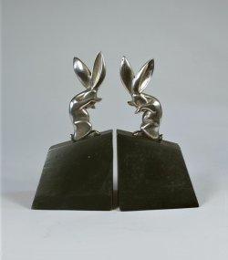 画像1: 【RISCHMANN】ブロンズ彫刻 兎のブックエンド