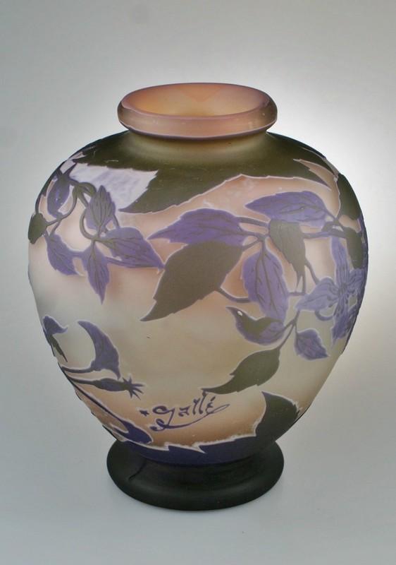 画像2: 【GALLE】ガレ クレマチス文花瓶 (2)