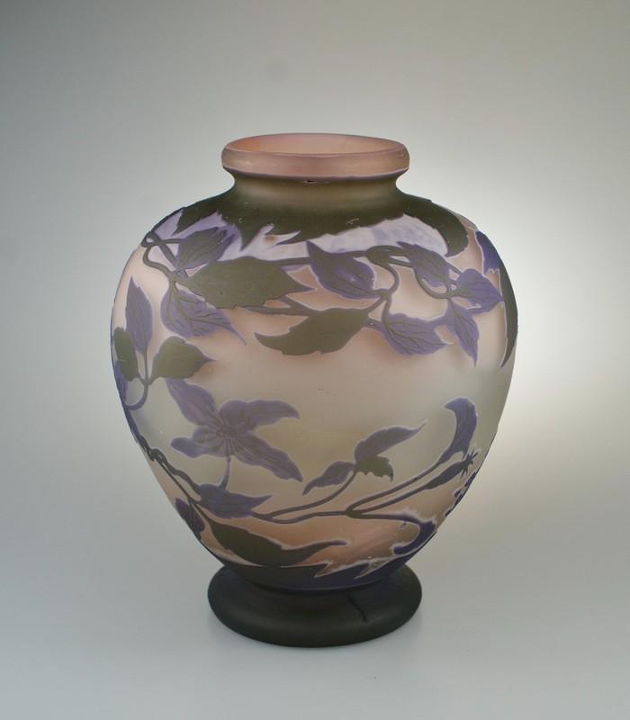 画像1: 【GALLE】ガレ クレマチス文花瓶 (1)