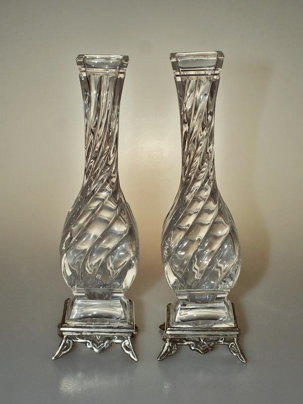 画像2: 【BACCARAT】バカラ Bambous torsカットの花瓶一対 (2)