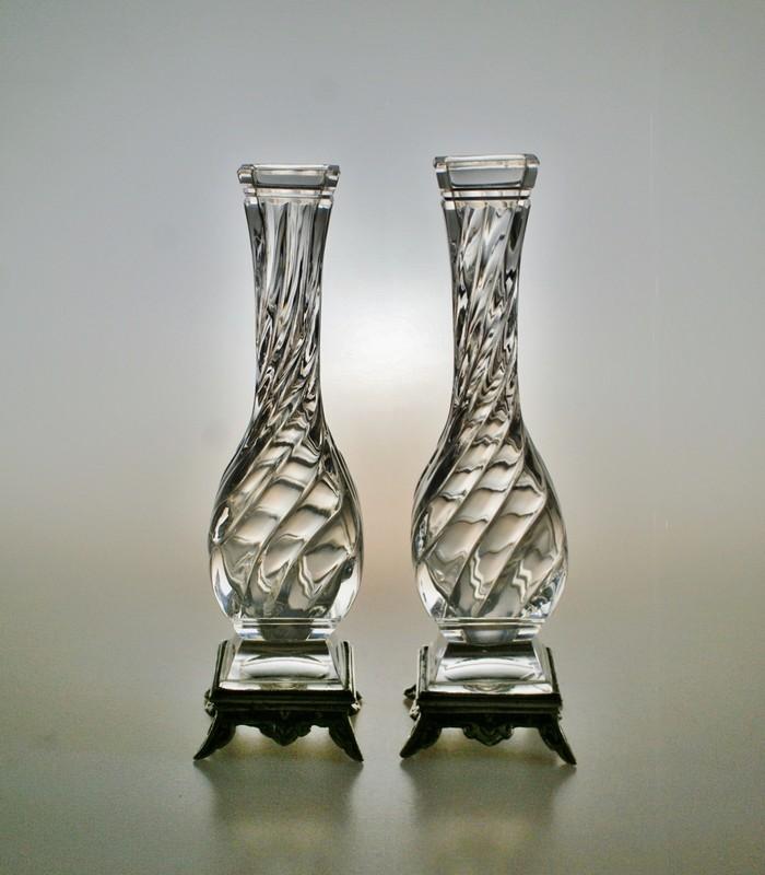 画像1: 【BACCARAT】バカラ Bambous torsカットの花瓶一対 (1)